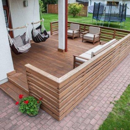 Mājas mēbeles, plats terases profils, termokoka margas